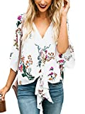 Faisean Womens Floral Print Chiffon Short Bat Sleeve Deep V Neck Knot Front Summer Blouse, White, X-Large