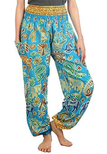 Lofbaz Women's Sweet Elephants Smocked Waist Boho Trousers Light Blue -