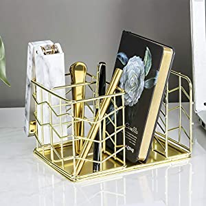 Nugorise Desk Supplies Organizer, 4 Compartments – 2 Slot Pen Holder and Letter Sorter, Multifunctional Wire Stationery…