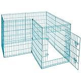 Idealchoiceproduct Pet Playpen Pet Pen Folding Wire Dog Exercise Pen Pet Fence Yard Fence 8 Panel Cage 24-42 Inch-Blue Color For Sale
