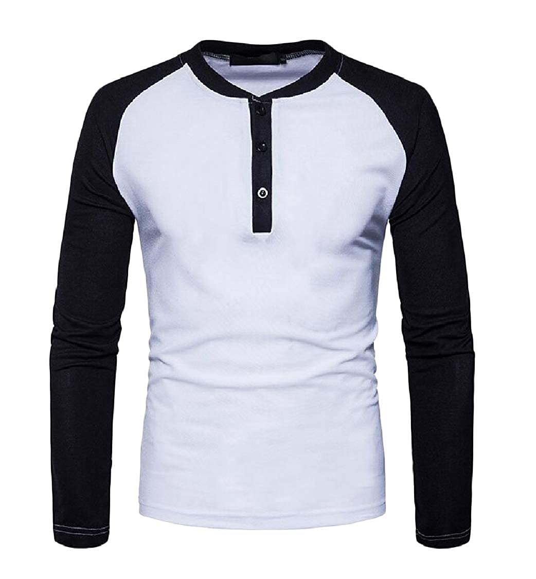 pipigo Mens Long-Sleeve Sports Splice Henley Slim Tee T-Shirts