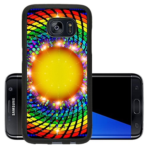 Liili Premium Samsung Galaxy S7 Edge Aluminum Backplate Bumper Snap Case illustration abstract background with round rays spectrum 29120133