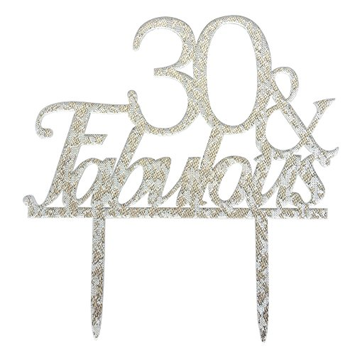 Price comparison product image Glitter Silver Acrylic 30 & Fabulous Cake Topper,  30th Birthday Party Cupcake Topper Decoration (30,  Silver)