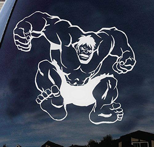 Incredible Hulk Super Hero Marvel Disney Characters Car Truck Laptop Macbook Decal Sticker 6 Inches White (Hulk Vinyl)