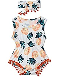 acdea71a98e3 Newborn Toddler Baby Girl Floral Sleeveless Bodysuit Romper Jumpsuit Outfit  Set Casual Clothes with Headband