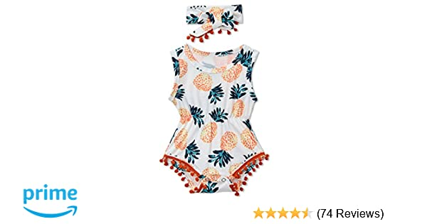 297c5bb90b1 Amazon.com  Leapparel Newborn Toddler Baby Girl Floral Sleeveless Bodysuit Romper  Jumpsuit Outfit Set Casual Clothes with Headband  Clothing