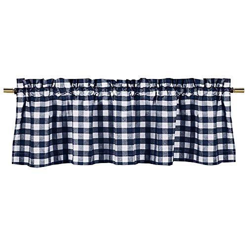 lovemyfabric Poly Cotton Gingham Checkered Plaid Design Kitchen Curtain Valance Window Treatment-Navy Blue