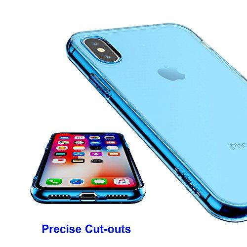 Shamo's iPhone X Case Blue Shock Absorption TPU Rubber Gel Transparent (Deep Blue)
