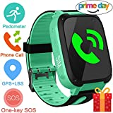 Smart Watch For Kids,GPS Tracker Phone Watch with SIM Game Camera Flashlight SOS for Parents APP iPhone Android Smartphone for Children Boys Girls Sport Camping Birthday (Green)