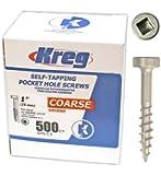 Kreg SPS-C1-500 Pocket Hole Screws 1-Inch #7 Coarse Pan-Head 500ct