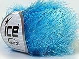 Light Blue Eyelash Yarn 50 Gram Ice 22779