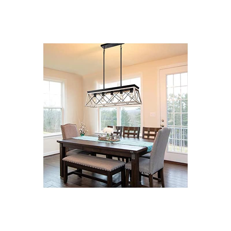 Merbotin Farmhouse Kitchen Island Light, 5-Light Distressed White Wood Finish Rustic Dining Table Chandelier Ceiling…