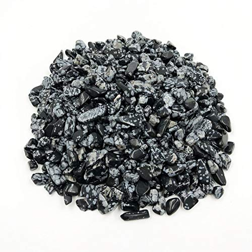 favoramulet Snowflake Obsidian Tumbled Stone Chips, Polished Crushed Healing Crystal Quartz Pieces Vase Filler 1 LB