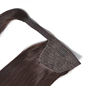 "18"" Straight Ponytail Hair Extension Human Hair Wrap Ponytail Hairpiece 100g Dark Brown 2#"