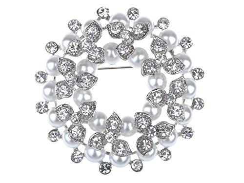 Alilang Shine Clear Rhinestone Faux Pearl Wedding Flower Wreath Lapel Brooch Pin