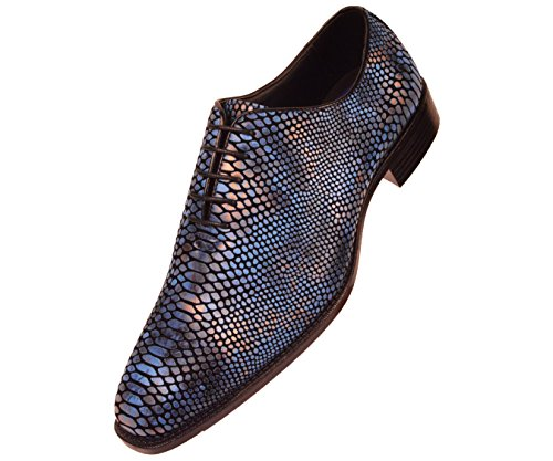 Bolano Mens Exotic Faux Snake Skin Print Oxford Dress Shoe: Style Seabrook Blue