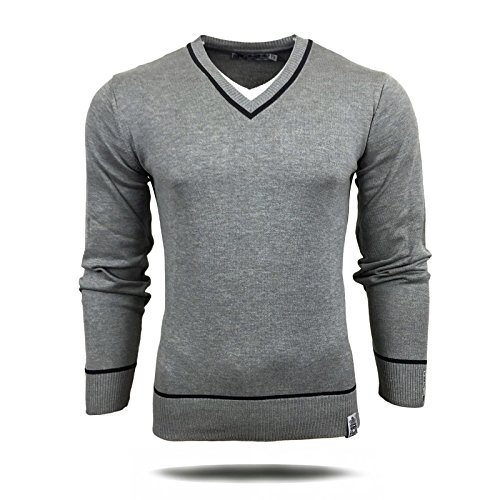 R-Neal RN-5007 Herren Pullover V-Neck Kontrast Pulli Sweatshirt Jacke Hoodie Neu, Größe:XXL, Farbe:Grau