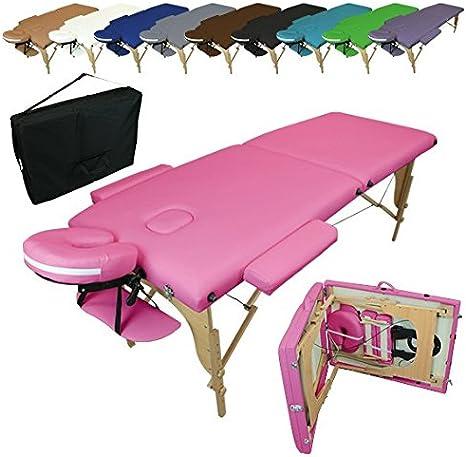 Vivezen Table De Massage Pliante 2 Zones En Bois Avec Panneau