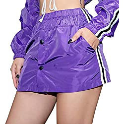 LisYOU Womens Classic Purple AQuilted Jacket Short Bomber Jacket Coat(L,Purple A)