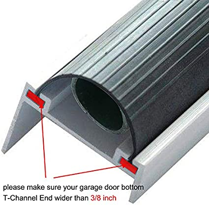 Homend Garage Door Seal Bottom Rubber Weatherproofing Threshold Buffering Replacement Black 1//4 Inch T-End,16FT Long