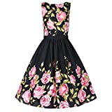 iPretty Vintage Dress Women Sleeveless Cotton Tea Party Cocktail Dress with Belt,Black,ASIAN M / US 6-8