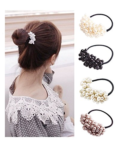 Twdrer 8Pcs Plastic Hair Rope,Pearls Beads Hair Band Hair Headband Ponytail Holders, Hair Accessories for Girl Women ()