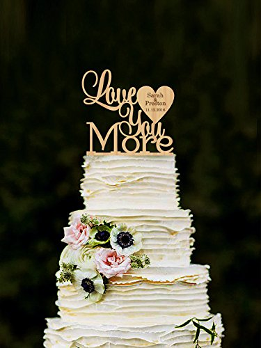 Love-You-More-Wedding-cake-topper-Personalized-Wood-Cake-Topper-Custom-Wedding-Topper-Unique-cake-toppers-Rustic-cake-toppers-Gold-Silver