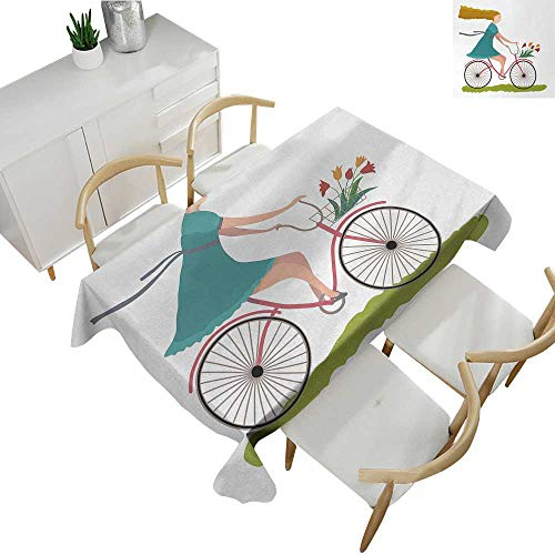 Tulip Basket - Bicycle,Table Cloth Printed Young Woman on Bike with Basket of Tulip Flowers Riding in The Spring Countryside Rectangle tablecloths Multicolor 54