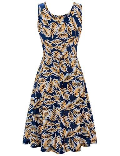 f0a6f96e75d2 Herou Women Sleeveless Beach Casual Flared Floral Tank Dress ...