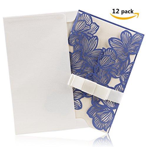 BingGoGo 12x Pearl Paper Laser Carving Bronzing Invitations with Envelope,Printable Inner Sheet, For Wedding, Baby Shower,Mother's Day, Graduation Celebration,Party Invitation,Thanks Card(Navy blue) - Celebration Envelopes