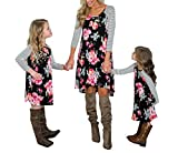doublebabyjoy Family Matching Flower Print O-Neck Long Sleeve Short Dress Mommy and Me One Piece Spring Fall Dress (Mom/L)