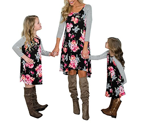 doublebabyjoy Family Matching Flower Print O-Neck Long Sleeve Short Dress Mommy and Me One Piece Spring Fall Dress (Spring Flowers Clothing)