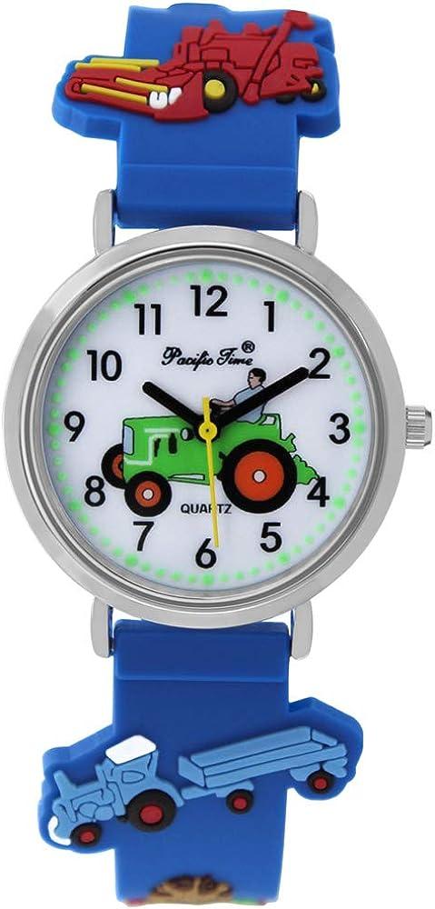 Pacific Time Reloj de pulsera para niño, diseño de tractor, tractor, granja, brilla en la oscuridad, analógico, de cuarzo, con correa de silicona azul 86833