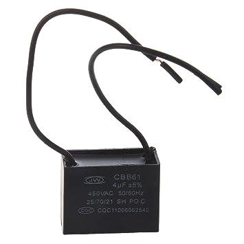 SODIAL (R) Deckenventilator Kondensator CBB61 4uF 450VAC 2 Draht 50 ...