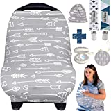 Dodo Baby Nursing Cover for Breastfeeding – Car seat Cover Nursing Scarf Breastfeeding Ups – Ultra-Soft and Breathable – Multipurpose Design – Includes Pacifier Clips, Case, Storage Bag