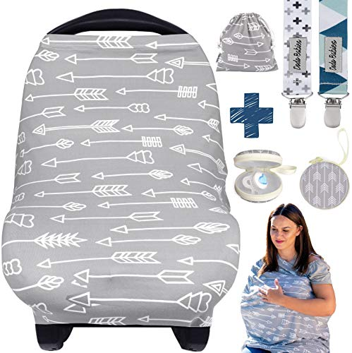 Dodo Baby Nursing Cover for Breastfeeding - Car seat Cover Nursing Scarf Breastfeeding Ups - Ultra-Soft and Breathable - Multipurpose Design - Includes Pacifier Clips, Case, Storage Bag from Dodo Baby