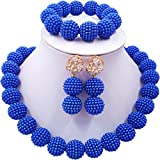aczuv Nigerian Wedding African Beads Jewelry Set Women Simulated Pearl Necklace and Earrings