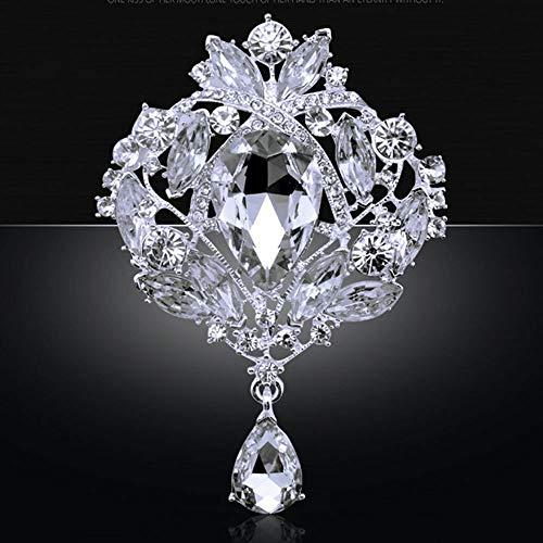 Jewelry Women Crystal Pin Pendent Luxury Rhinestone Wedding Brooch | color - White