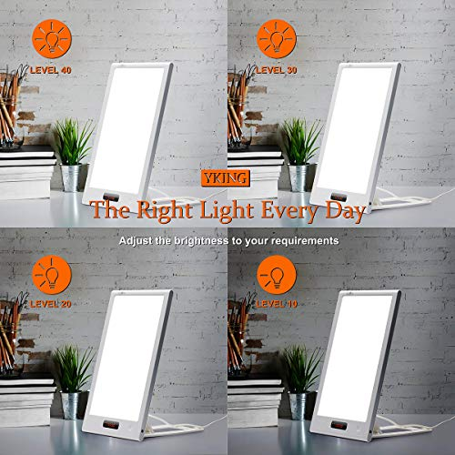 Light Therapy Lamp,12000 Lux LED Happy Sun Light with Timer and Simulates Sunlight UV-Free,Sunset and Sunrise Settings,1-40 Level Adjustable Brightness, for Home/Office/Winter