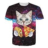 CHIC Unisex Harajuku Hip Hop 3D Print Galaxy Pizza Cat Swag T-Shirt Tops (XXL)