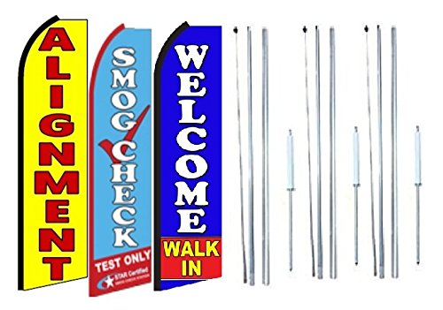 Alignment,smog Check Welcome Walk in King Swooper Feather Flag Sign Kit with Complete Hybrid Pole Set Pack of 3