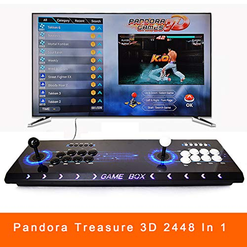 1080P Arcade Emulator Console 8 Button Metal Casing 2448 in 1 Retro Video Games Machine Pandora's Box 3D Neo Geo SNK Full HD 2 Player Colorful Light PC/PS Arcade Joystick Support Extend 3D Game