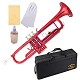 Glory Brass Bb Trumpet with Pro Case +Care Kit, Red, More COLORS Available ! CLICK on LISTING to SEE All Colors