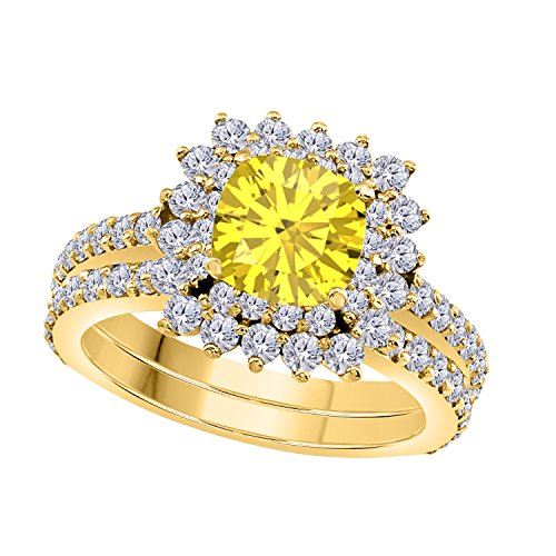 1.50 Ct Cushion & Round Cut Cteated Yellow Sapphire & Cubic Zirconia 14k Yellow Gold Over Starburst Design Wedding Engagement Ring Halo Bridal Sets Size 4 to 11 ()