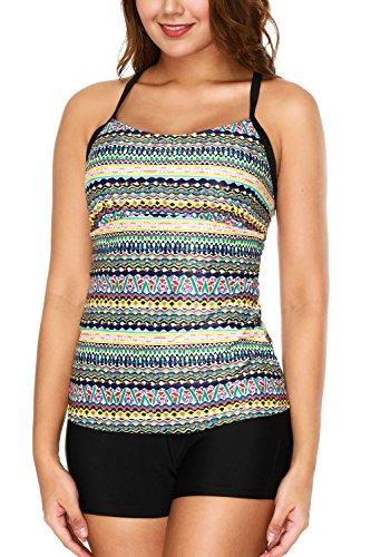 Swimsuit Tankini Shelf Bra (CharmLeaks Womens Two Piece Swimsuit Tankini With Shorts Strip Swimwear Tribal Bather)
