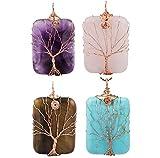 SUNYIK Amethyst/Rose Quartz/Tiger's Eye Stone/Howlite Turquoise Tree of Life Pendant Necklace,Pack of 4