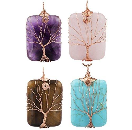 SUNYIK Amethyst/Rose Quartz/Tiger's Eye Stone/Howlite Turquoise Tree of Life Pendant Necklace,Pack of 4 Pendants