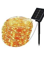 Tomshin Luzes de corda solares Lâmpada alimentada por energia solar Iluminação decorativa à prova d'água para festa de casamento no quintal do jardim Natal