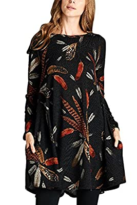 Elapsy Womens Long Sleeve Feather Print Casual A Line Tunic T Shirt Dress with Pockets