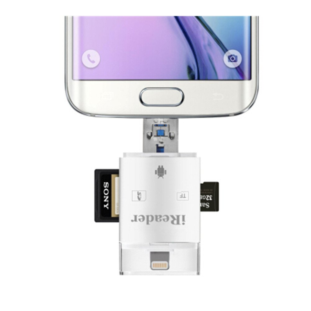 Flash Drive dispositivo HD USB 2.0 Micro SD adaptador de lector de tarjetas para iPhone 8/8 Plus/7/7 Plus/6S/6S Plus/6/6 Plus, iPad Air/Mini/Samsung Tablets, Galaxy S6 S7 Galaxy S5 Nota 4 3 holight GBA06IPANR